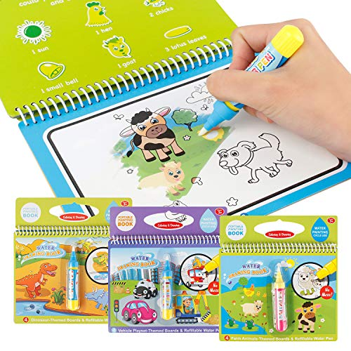 Joyfia Water Drawing Books, Mess-Free Coloring Books for Toddlers, Water Doodle Painting Board with Pen, Educational Toys Birthday Gift for Kids Girls Boys (Dinosaur & Cartoon & Vehicle)