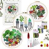 YINVA Kit de punto de cruz para principiantes, diseño de flores y plantas, kit de iniciación con 3 piezas de plástico, hilos de color y herramientas, para manualidades, costura, artesanía
