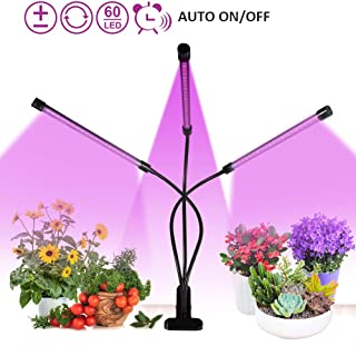Led Grow Light for Indoor Plants, XECCON 30W Tri Head Timing LED Grow Lamp Plant Lights Full Spectrum, Auto ON & Off with 3/6/12H Timer 5 Dimmable Levels 3 Switch Modes (60LEDs)