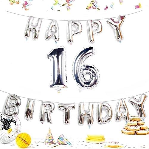KIYOOMY Number 16 Balloon Giant Jumbo Foil Mylar Balloons Happy Birthday Letter For