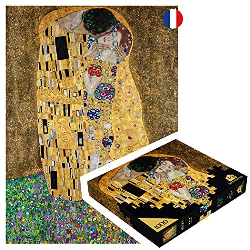 Puzzle da 1000 pezzi adulti 'Klimt, il bacio' prodotto in Francia Gioco zen eco-responsabile. Grande jigsaw dal famoso quadro di arte moderna con gli sgargimi sulla pittura e l'artista.