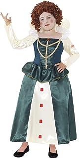 Smiffy's Children's Elizabeth I Costume, Dress, Ages 10-12, Colour: Green and White, 27024