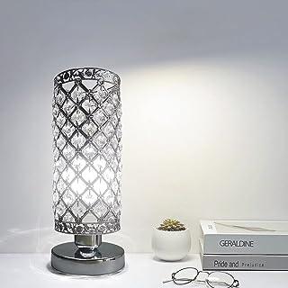 Lampe de Table en Cristal, abat-jour Lampe de chevet, Cristal de Mode Créatif Lampe de Table Argent avec Douille E27 (pas ...