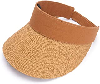 Asdfnfa Sun Hat Women's Straw Hat Summer Anti-UV Folding Beach Hat Princess Hat Big Hat Fishing Hat Empty Top Hat (Color : Brown)