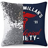 MENGQ Dr MacMillans Neurological Society Holby City Sequined Pillowcase, Decorative Flashing Pillowcase, Used for Home Decoration Sofa Throwing Cushion Cover.