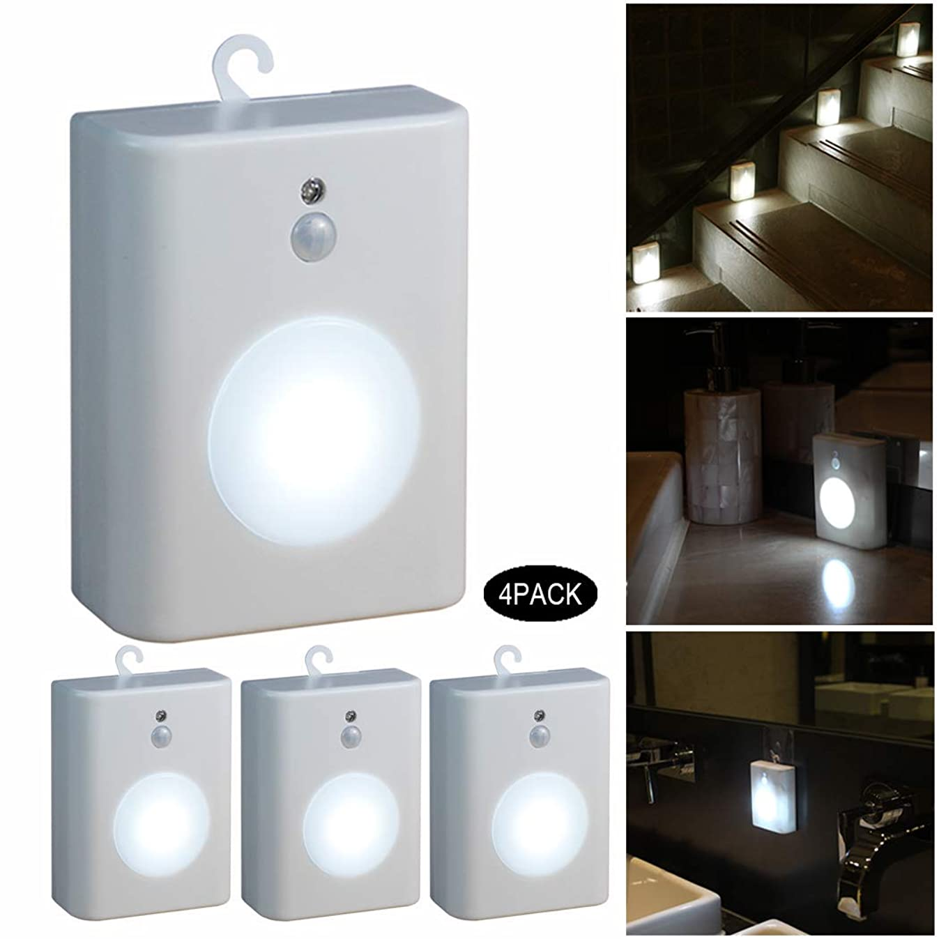 WRalwaysLX Motion Sensor LED Nightlight, Battery-Powered Cool Light,Step Light for Stair,Hall,Closet,Bathroom,Kitchen,Cabinet, Stick-Anywhere,0.5W LED, 4 Pack White
