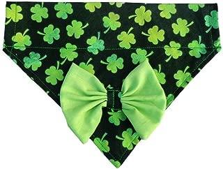 2 in 1 Cat Dog Bandana Green Bow 3 Leaf Clover Shamrock St Patricks Neckwear