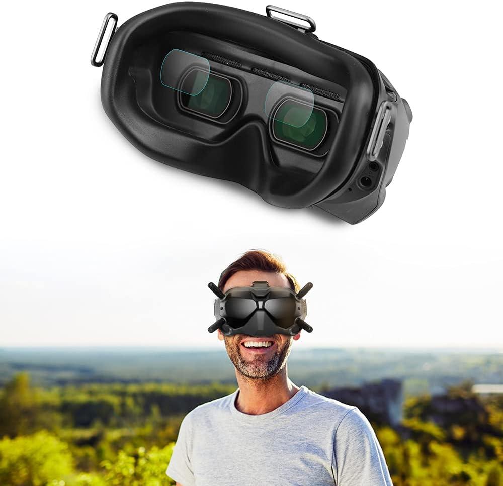 Protector de pantalla compatible para DJI FPV Goggles V2, AFUNTA 2 pares de gafas de alta definición antiarañazos, protector de pantalla con herramientas de instalación