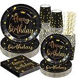 Rorchio 120 piatti di compleanno neri e oro, set da tavola usa e getta Happy Birthday include piatti e tovaglioli, cannucce di carta per feste di compleanno