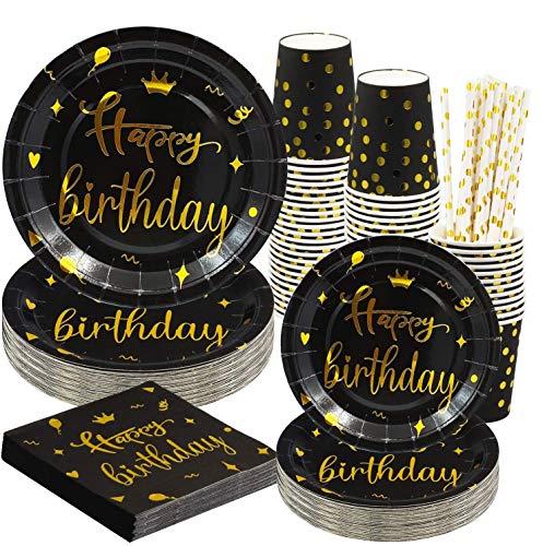 Rorchio 120 platos de cumpleaños negros y dorados, juego de vajilla de feliz cumpleaños desechable incluye platos de fiesta feliz tazas y servilletas, pajitas de papel para fiesta de cumpleaños