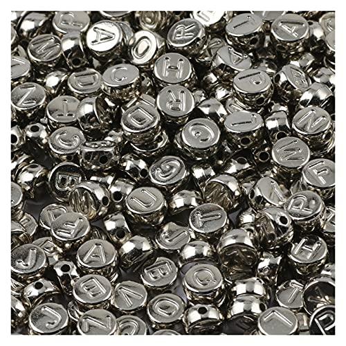KXLBHJXB Kit De Fabricación De Collar, Letras Mixtas En Blanco Y Negro, Cuentas Espaciadoras Redondas Planas para Collar De Pulsera DIY Hecho A Mano De 7 Mm (Color : B06653, Item Diameter : 500Pcs)