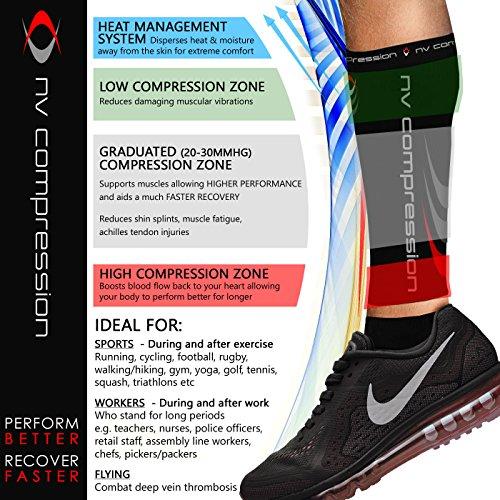 NV Compression 365 Fußlose Kompressionsstrümpfe - Wadenstütze Kompression Compression Calf Sleeves - For Sports, Laufen, Radfahren, Triathlon, CrossFit, Gym, Tennis (Schwarz , Small) - 3