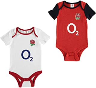 Brecrest England Rugby 2 Pack Bodysuit Infants Baby White/Red Baby Grow