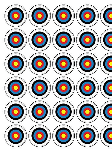 """Archery Target 30 x 1.3"""" Icing cupcake toppers PRECUT - Ready to use (5 - 10 BUSINESS DAYS DELIVERY FROM UK"""