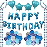 Decoraciones Fiesta Cumpleaños,Blue Star Air Balloon Set(57 Pcs), Cielo Estrellado Globo Foil Banner, Papel De Estrella Azul, Azul Y Blanca De Látex Globo Confeti Para Niños, Adulto,Cumpleaños