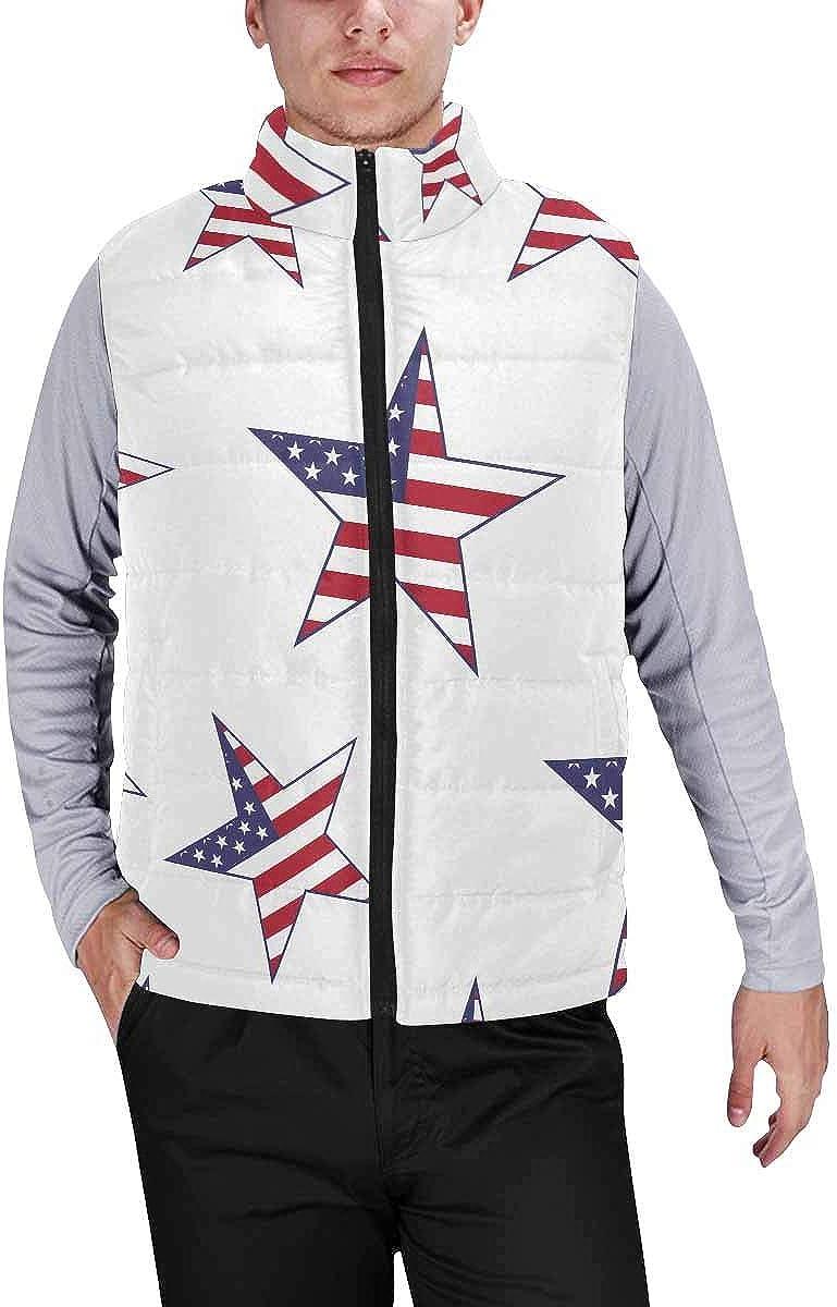 InterestPrint Men's Outdoor Casual Stand Collar Padded Vest Coats Usa Flag Stars XXL