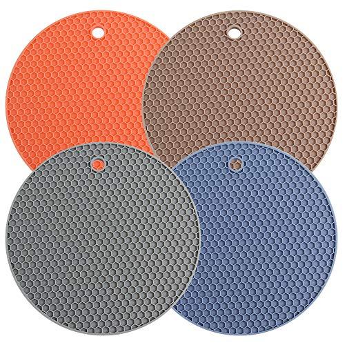 Salvamanteles de Silicona, Antideslizante Resistente al Calor Posavasos Multiusos Resistente al Calor para Ollas Salvamanteles,Posavasos Grandes(Multicolor,4pcs)
