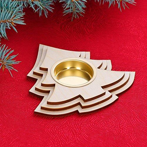 Motif photophore bougeoir – Décoration en bois pour Noël, Bois, Teelichthalter Tannenbaum