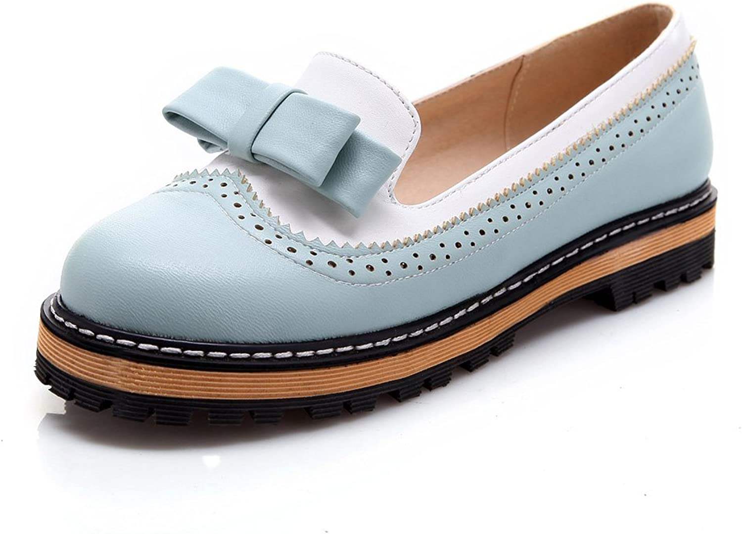 DoraTasia Campus Style Bow-Knot Thick Platform Mixed color Women Loafers Oxford shoes