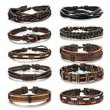 BESTEEL 10 PCS Tressé Bracelets en Cuir pour Hommes Femmes Punk Corde Bracelet Manchette Vintage Bracelets Wrap Set, Réglable a