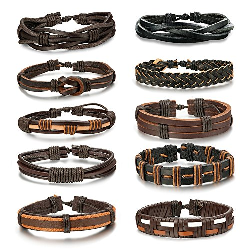 Besteel 10PCS Braided Leather Bracelets for Men Women Punk Rope Bracelet Cuff Vintage Bracelets Wrap Set, Adjustable A