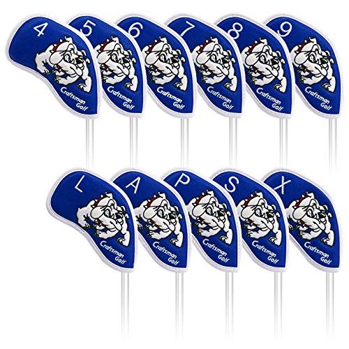 Craftsman Golf 11(7, A, S, P, L, X) Hund Wasserdicht PU-Leder Eisen Schlägerhaube Head Covers Set für Taylormade, Callaway und Andere Marke, Blau