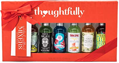 Thoughtfully Gifts, Global Cocktail Mixers Gift Set, Flavors: Peach Bellini, Blue Hawaiian, Appletini, Tropical Painkiller, Mojito, Singapore Sling, and Margarita; Set of 7 (Contains NO Alcohol)