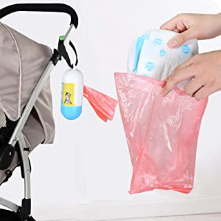 Diaper Disposal Bags & Compact Diaper Trash Bag Dispenser with Hook - Round Premium Disposable Diaper Refill Bags, Colors Vary, Great for Changing Diapers on The Go (Roll of 15,150Pack Bag+1Dispenser)
