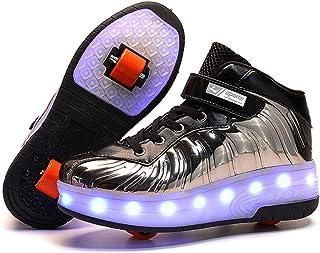 Zapatillas con Ruedas LED Luces Luminosas Zapatos de Roller Ajustable Doble Rueda Patines Calzado Deportivo al Aire Libre ...