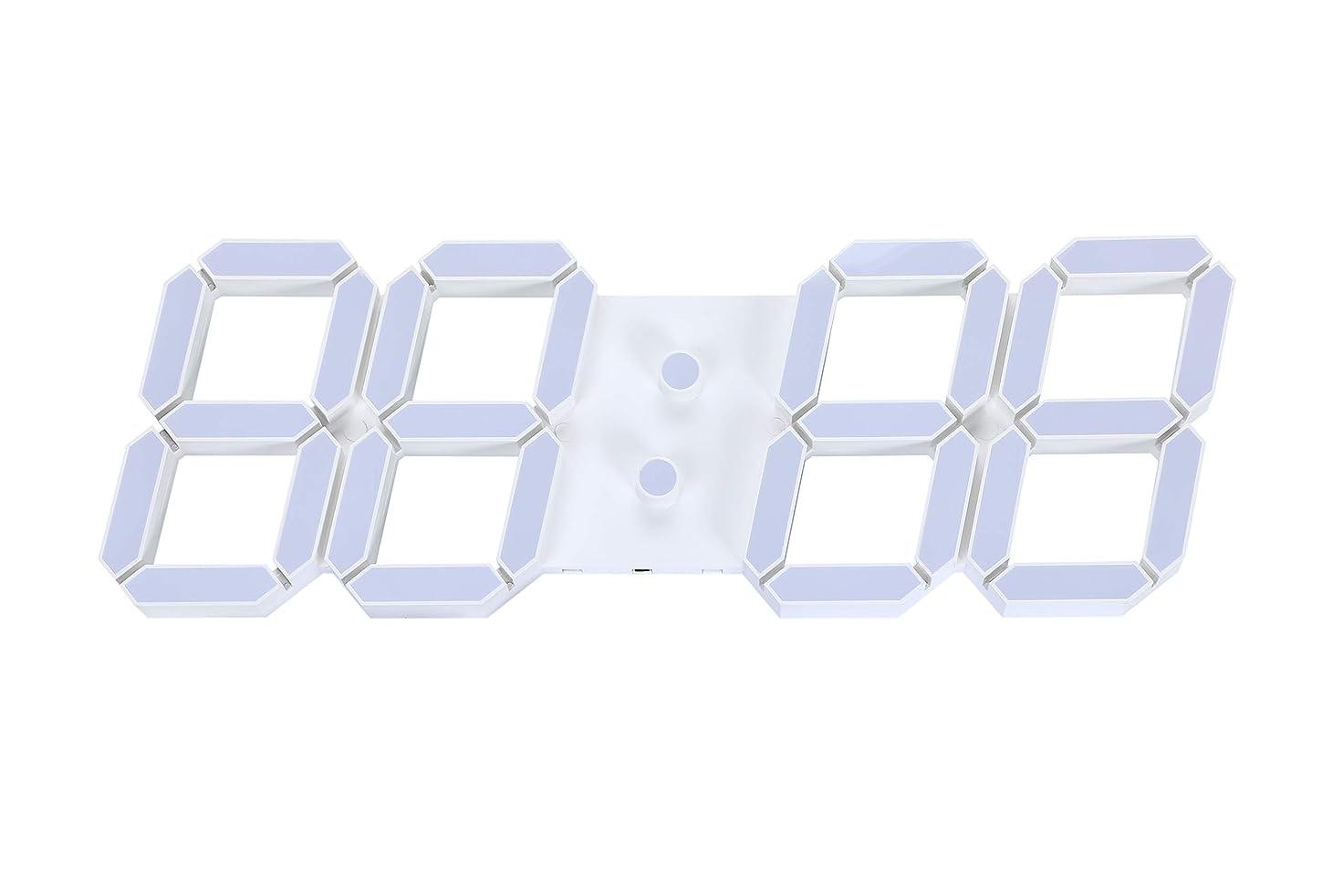 酸っぱい肖像画フットボールVANGOOD LED 壁掛け デジタル時計 - 3D 立体 wall ウォール clock リモコン付き USB電源 アダプタ付き (ホワイト)