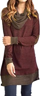 Women's Cowl Neck Tops Two Tone Color Block Pullovers Elbow Patchs Loose Long Tunic Blouse
