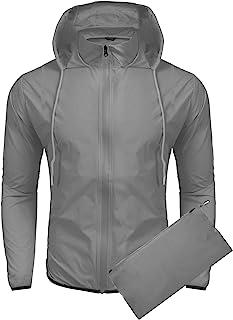 COOFANDY Unisex Lightweight Hooded Running Cycling Rain Jacket Outdoor Raincoat