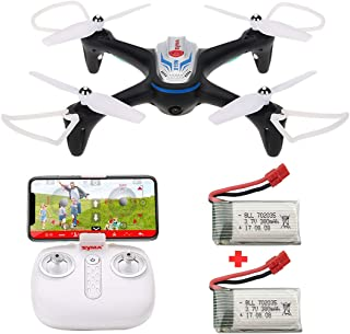 Syma X15W RC FPV Drone with Camera, App & Remote Control Quadcopter with 2 Battery, Black/Gold