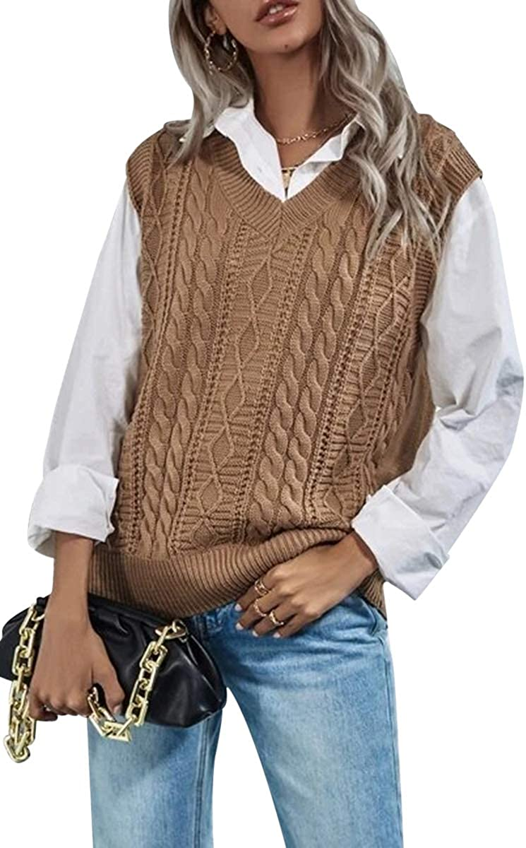 Hongqizo Womens Cable Knit Solid Sweater Vest Oversized V Neck Sleeveless Casual Knit Tops