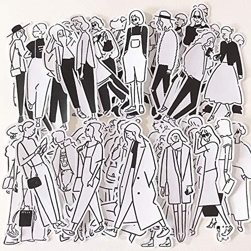 PMSMT 32 Piezas Blanco y Negro Simple Chica insPegatinas artesanías y Pegatinas de álbum de Recortes Libro Etiqueta de Estudiante Pegatina Decorativa Juguetes para niños