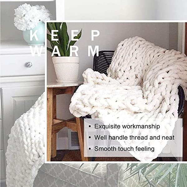 EASTSURE Luxury Knit Chunky Throw Blanket Premium Super Soft Warm Cozy Chenille Blanket For Couch Bed Chair White 24 X24