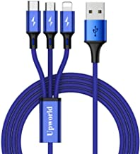 Multi Charging Cable, Upworld USB Cable 4ft 3 in 1 Premium Nylon Braided Multiple USB Fast Charging Cords Type C/Micro USB Connector for X 8/7Plus, Galaxy S9, Huawei, LG, Tablets and More (Blue)