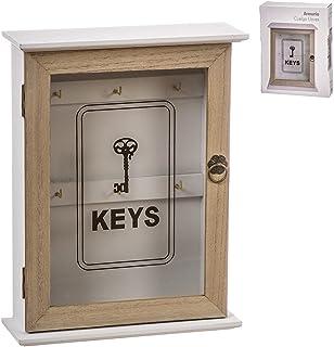 TIENDA EURASIA® Boîte en bois pour accrocher clés – Armoire décorative pour clés (Keys Noir 22 x 7 x 28)