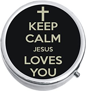 Keep Calm Jesus Loves You Medicine Pill Box