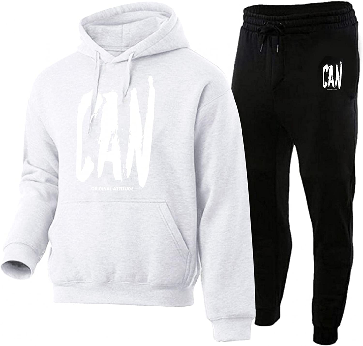 Men Tracksuits 2 Piece Long Sleeve Printed Hoodie Sweatpants Outfits Casual Running Jogging Sweatsuit Pullover Sets