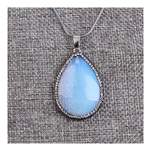 SHOYY Natural de la joyería de Agua en Forma de lágrima Gota Opal Colgante for el Collar de Piedra cristalina del Rhinestone pavimentado