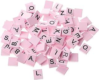 jackyee 100Pc-piece Wooden Colourful Scrabble Tiles Mix Letters Varnished Alphabet Scrabbles Pink Standard Letter Box