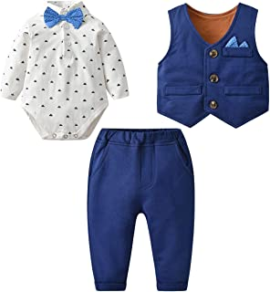 Baby Boy 3 Piece Formal Outfit Suit with Bows Waistcoat Gentleman Tuxedo