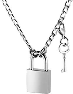 HZMAN Punk Style Lock Key Necklace Pendant Influx Men Women Dress up Stainless Steel Personality Jewelry