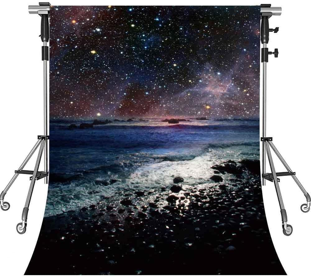 HD Night Starry Backdrop for Photography Night Black Starry Sea Level Background Interior Decoration Photo Booth Studio Props 5x7ft DSMT083