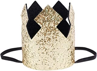 Birthday Party Crown Cute Gold Hat Elastic Glitter Prince Princess Crown Hair Accessories Photo Prop for Baby Child Adult (Gold-black)