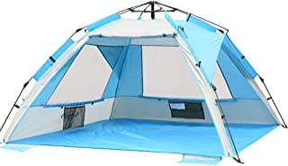 ZOMAKE Instant Beach Tent 3-4 Person, Pop Up Sun Shelter Easy Setup Portable Sun Shade Tent with SPF 50+ UV Protection for Kids Family