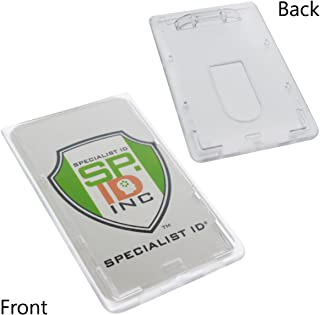10 Pack - Slim Heavy Duty Badge Holders - Hard Plastic Clear Polycarbonate (Holds 1 Card) Rigid Top Load Single Card Case - Vertical Easy Access Thumb Slide Hole & UV Protection by Specialist ID
