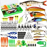 Fishing Lures Tackle Box Bass Fishing Including Animated Lure,Crankbaits,Spinnerbaits,Soft Plastic Worms, Jigs,Topwater Lures,Hooks,Saltwater & Freshwater Fishing Kit for Bass,Trout, Salmon Fishing.