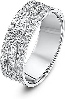 Theia 9 克拉白金叶/钻石类似设计 6 毫米婚戒